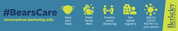 Image with icons, Wear your mask, Wash Hands Often, Practice social distancing, Get tested regularly, Add CA COVID NOTIFY to your phone. #BearCare
